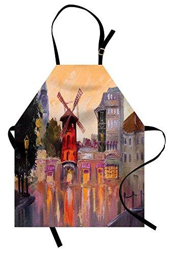 Lunarable European Apron, Painting of Moulin Rouge in Paris City Centre of Love Vintage France Art Print, Unisex Kitchen Bib Apron with Adjustable Neck for Cooking Baking Gardening, (Moulin Rouge Paris Costumes)
