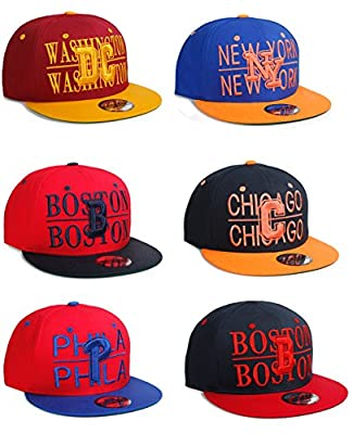US Cities USA City Block Letters Flat Bill SnapBack Cap Hat Snap Back