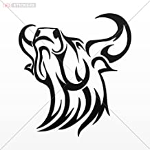 Decal Bull Head Tribal Red (8 X 7.3 Inch) X997a Size: 5 X 4.6 Inches Black