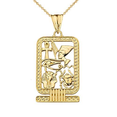 Cartouche Gold Pendant Egyptian (Exquisite 14k Yellow Gold Ancient Egyptian Cartouche Pendant Necklace, 16