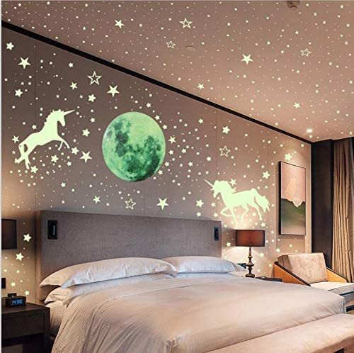 Glow Wall Ceiling Stickers for Home Kids Room Decorations Wsnyy 573 Pcs Glow in The Dark Unicorn Wall Decals Luminous Moon Star Fluorescent Green Dot Stickers,Colorful Full Moon for Starry Sky