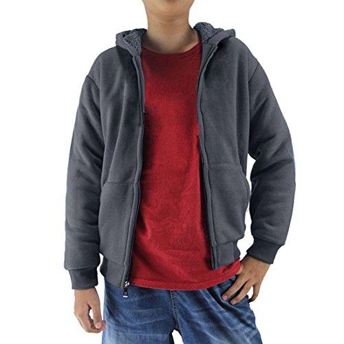 Gary Com Sherpa Lined Fleece Boys Hoodie Full Zip Warm Youth Big Long Sleeve Child Sweatshirts