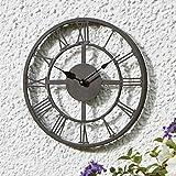 Smart Garden Arundel Indoor Outdoor Garden Wall Clock 14'' | Coated Weatherproof Grey Metal Traditional Roman Style