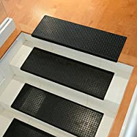 "Rubber-Cal ""Diamond-Plate Non-Slip Rubber Tread Stair Mats (6 Pack), Black"
