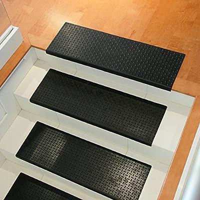 "Rubber-Cal ""Diamond-Plate Non-Slip Rubber Tread Stair Mats (6 Pack), Black"