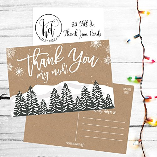 25 4x6 Woodland Christmas Holiday Thank You Postcards Bulk, Blank Cute Modern Kraft Winter Note Card Stationery For Wedding, Bridesmaids, Bridal or Baby Shower, Teachers, Religious, Business Cards Photo #4