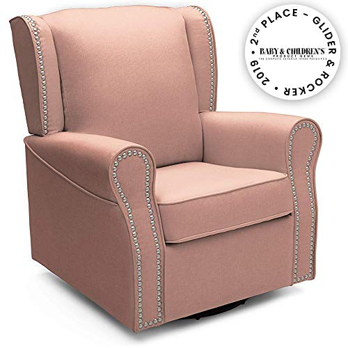 Delta Children Middleton Upholstered Glider Swivel Rocker Chair, Blush