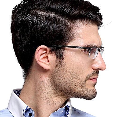 (TERAISE Pure Titanium Eyeglasses Fashion Business Glasses Frame for Men Clear Lens)