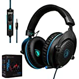 Cheap CXCase 2017 SADES CX-778 PS4 Xbox One 3.5mm Gaming Headset Over-Ear Gaming Headphones With Mic, Volume Control, Noise Cancelling, Headphone Case For PC, Smart Phones, Tablet, Laptops – Black Blue