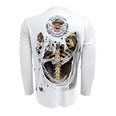Performance Fishing Shirt Rattlin Jack UPF 50 Quick Dry Mens Long Sleeve Skeleton
