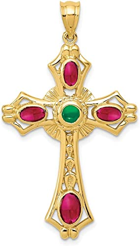 14k Yellow Gold Cut Out Cross Religious Pendant Charm Necklace Passion Fancy Fine Jewelry Gifts For Women For Her