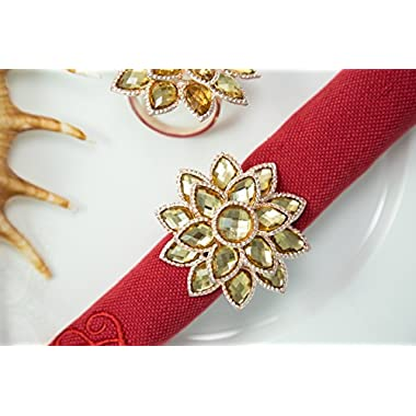 HomeProMart Napkin Rings - Set of 4 Exquisitely Crafted Designer Gold finish Acrylic Napkin Rings For Home, Wedding or Holiday parties