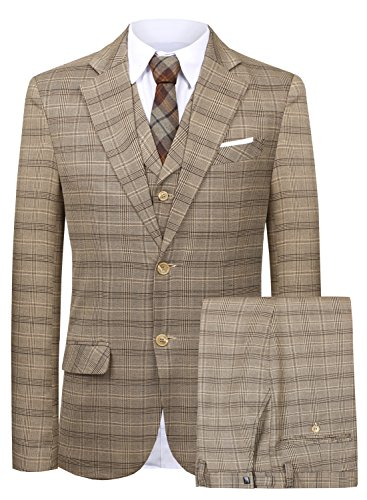 Fit Suit Blazer Jacket Tux Vest & Trousers 3-Piece Suit Set (Brown,42) ()
