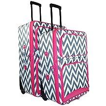 Ever Moda Pink Grey Chevron 2 Piece Expandable Luggage Set