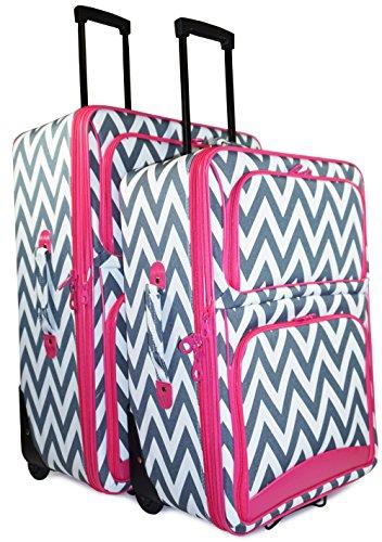 Ever Moda Grey Chevron 2-Piece Luggage Set by Ever Moda