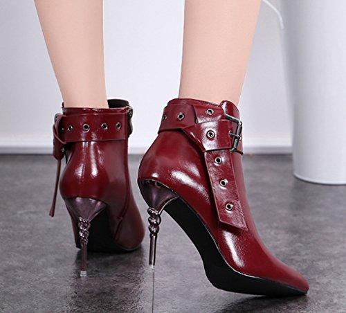 bottes doux pointue femme Bottes Noir taille à à l'usure Couleur 34 sexy Rouge résistant Martin Confortable pointe Bottes à hiver JAZS® talon Stiletto chaussures CUtqx7Cv