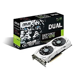 ASUS GeForce GTX 1070 O8GB Dual-fan OC Edition 4K/VR Ready Dual HDMI DP 1.4 Gaming Graphics Card (DUAL-GTX1070-O8G)