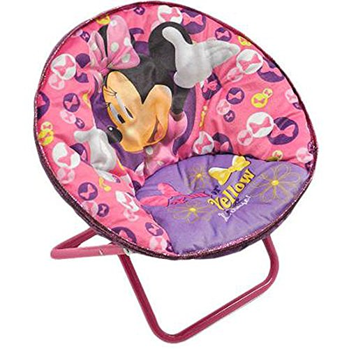 Minnie Mouse Disney Saucer Chair Pink Toddler Kids Seat Portable Character Comfortable Seating Saucer Shape Sturdy Metal Frame Polyester Cushioned Seat Playroom Easy Storage Bedroom by Disney