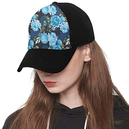 Front Panel Custom Peony Blue Vintage Hand Drawn Romatic Printing Baseball Hat Adjustable Size Curved Cap for Hip-hop Sports Summer Beach Outdoor Activities Unisex
