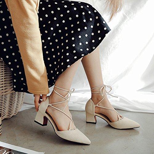 Top Süß Blockabsatz Beige Damen Spitze Aisun mit Sandale Schnürung Low Zehen Geschlossen a7gwP5qY