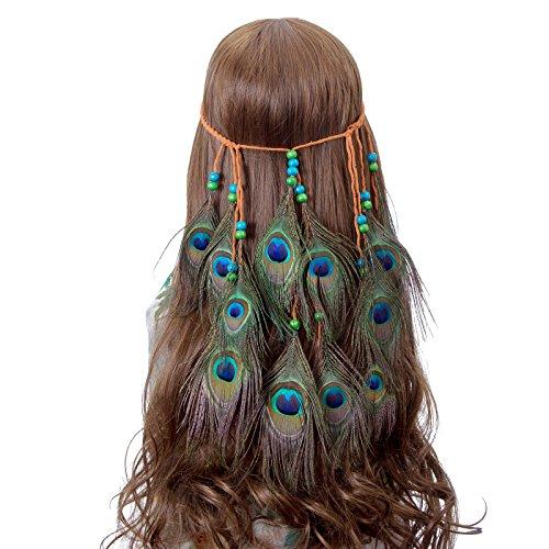 Peacock Feather Hippie Headband Accessories - AWAYTR Bohemia Tribal Indian Hippie Headpiece Braided Beads Headwear Festival Hair Decoration (All peacock) (Indian Accessories)