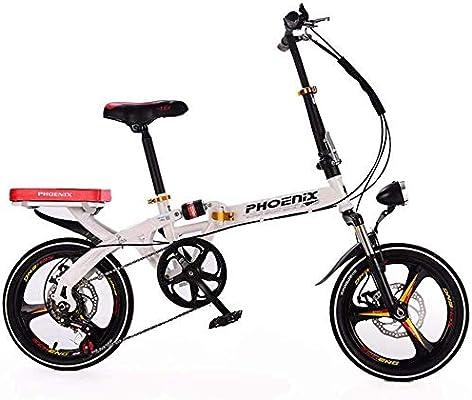 Gyj&mmm Bicicleta Plegable de Velocidad Variable, Bicicleta Urbana de aleación Ligera para Adultos, Comprador con Manillar Ajustable Bicicleta de montaña Deportiva y de Ocio sintética,Blanco: Amazon.es: Hogar
