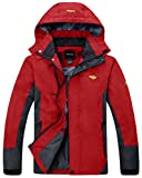Wantdo Men's Waterproof Breathable Outdoor Jacket For Hiking and Climing Red Large