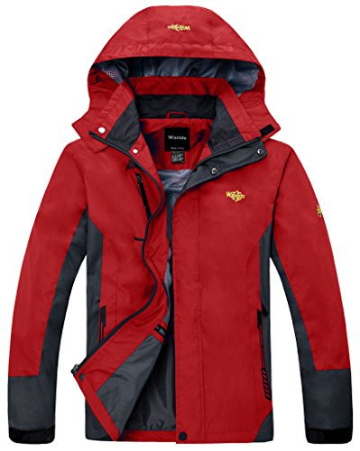 Wantdo Men's Water Proof Jacket Drawstring Hood Seam Taped Jacket(US M)Red