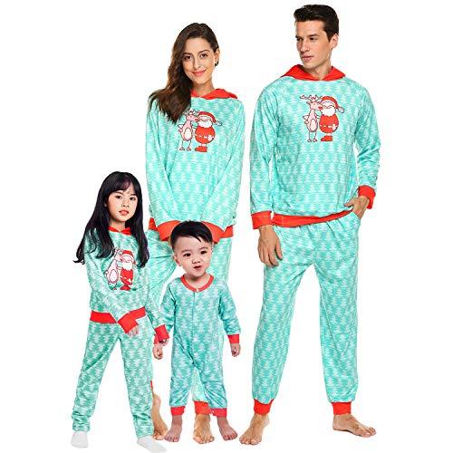 Teeker Christmas Family Pajama Set Holiday Macthing Loungewear PJ Sets Elk Santa Print -