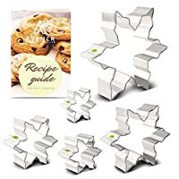 Asener Christmas Snowflake Cookie Cutter Set [5-Piece] - Tin Plated Steel, Perfectly Designed, Snowflake Shapes, Durable Cookie Cutter with Recipe Book