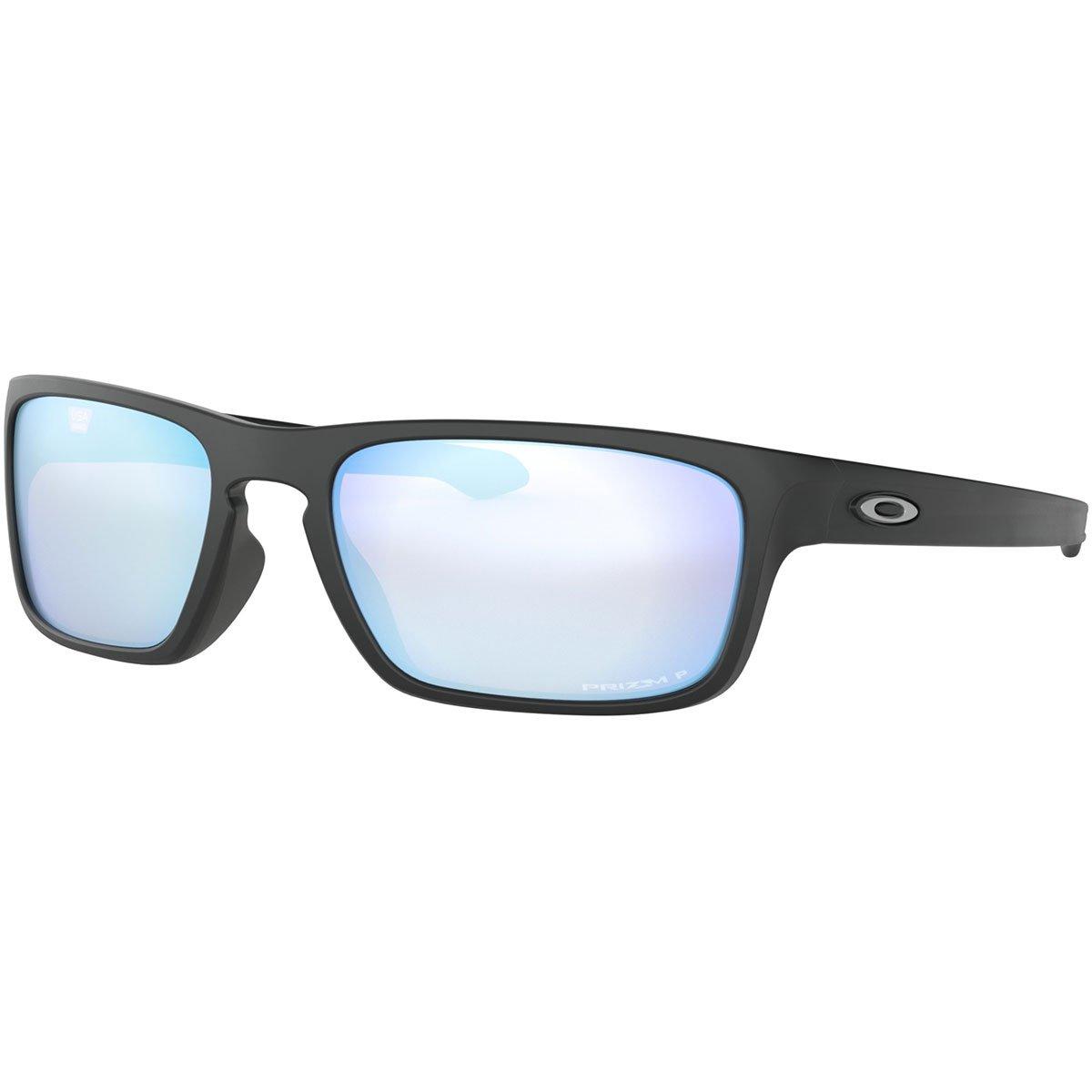 Oakley Men's OO9408 Sliver Stealth Square Sunglasses, Matte Black/Prizm Deep H2O Polarized, 56 mm by Oakley
