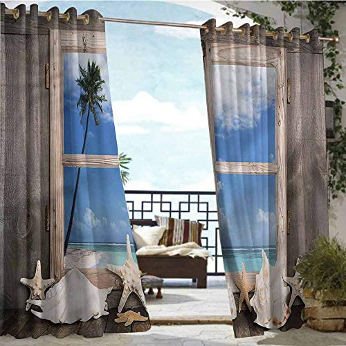crabee Indoor/Outdoor Single Panel Print Window Curtain Beach,Seashells Starfish Palms,W96 xL84 Outdoor Patio Curtains Waterproof with Grommets (Beach Hardware Gardens Store Palm)