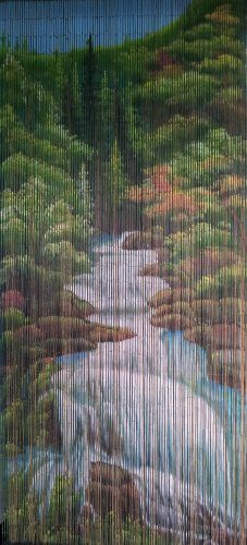 Mountain Stream Beaded Curtain 125 Strands (+hanging hardware) (Beads Hanging Wooden Door)