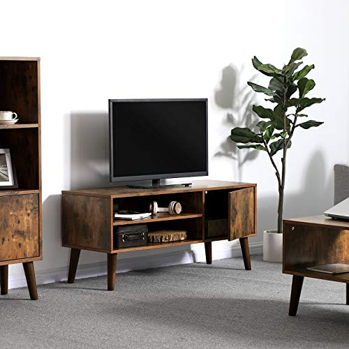 VASAGLE Retro TV Stand, TV Console, Mid-Century Modern Entertainment Center for Flat Screen TV Cable Box Gaming Consoles, in Living Room Entertainment Room Office ULTV09BX by VASAGLE (Image #2)