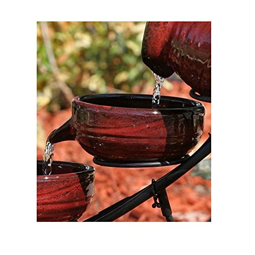 Svitlife Red Ceramic 5-Tier Hand Painted Outdoor Bird Bath Fountain with Solar Pump Fountain Bird Bath Outdoor Garden Water Solar Pump Pool Powered ()