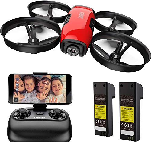 SANROCK Drone for Kids with Camera 720P HD Camera Real-time Video Feed. Altitude Hold, Route Made, Headless Mode, One Button Take Off/Landing, Emergency Stop Great Gifts for Boys Girls