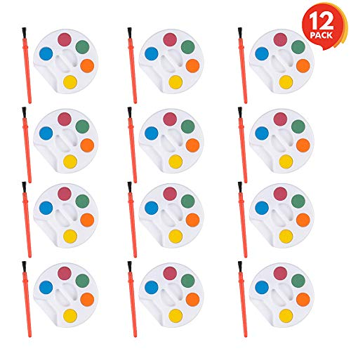 ArtCreativity Mini Paint Sets (Pack of 12) | Each Set Incudes Five Water Paint Colors Paint in Tray with Painting Brush | Artistic Crafts and Supplies | Great for Schools/ Party Favor/ Prize for Kids