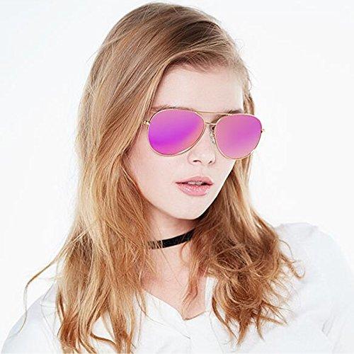 La Coreana de Violet UVB la Mujeres era Personalidad Gold Gafas Color Las UV Sol de Gafas Versión Delgada Frame Redonda de HLMMM UVA Powder Gold Sol de oscuras violet polarizadas powder Cara Anti frame PCqz87w