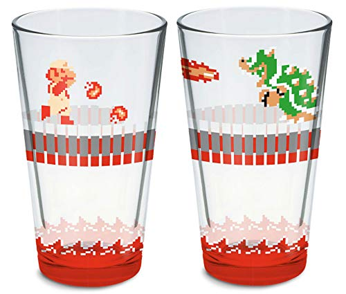 Super Mario Bros Dungeon Fire Mario and Bowser Pint Glass 16 oz - 2 Pack Set