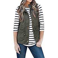 Women's Casual Lightweight Drawstring Zipper Military Vest Jacket Coat With Pockets Army Green S