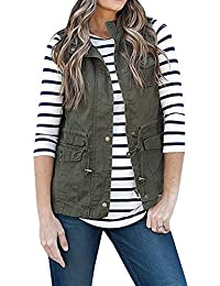 Women's Casual Sleeveless Lightweight Drawstring Botton Zipper Up Jacket Vest Coat With Pockets