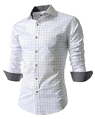 SHOWNO-Men Classic Long Sleeve Button Down Slim Plaid Dress Shirt Blouse Tops