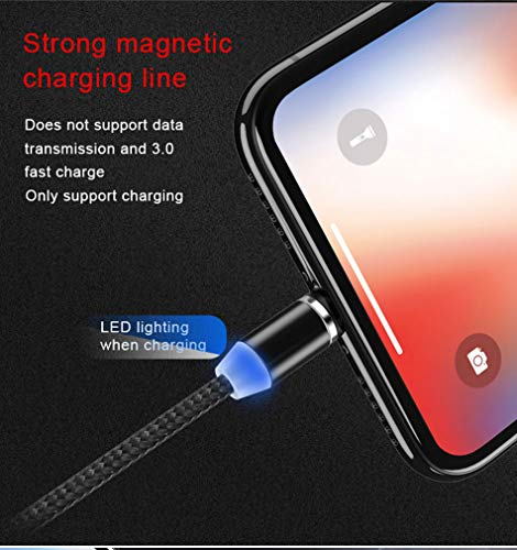 RICHVOLT Multi Charging Cable, 3 in 1 Nylon Braided Fast Charging Cord Magnetic Charger USB Cable for iPhone Micro USB Type C Mobile Phone Cable Fast Charging Magnet Charger USB Wire Cord - Black