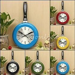 8 Metal Skillet Flying Pan Wall Clock Kitchen Home Office Quartz Hanging Design