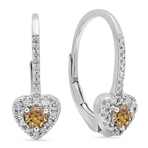 Dazzlingrock Collection 14K 3 MM Each Round Champagne Diamond & White Diamond Ladies Heart Shape Drop Earrings, White ()