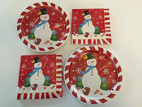 Christmas Snowman Paper Plates And Napkins Service For 36