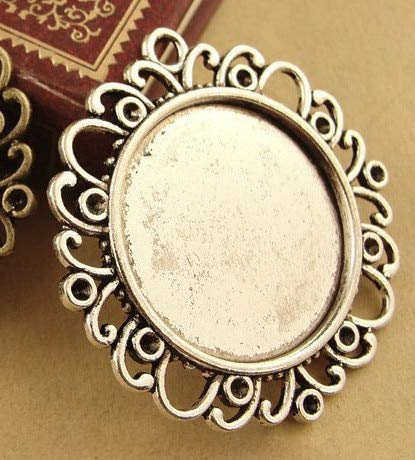 Jammas Antique Bronze Cork Base Alloy Tray Round Filigree Cameo cabochon 10pcs/lot Inner Size 25mm Jewelry Making Accessories - (Color: Antique Silver)
