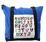 Lunarable ABC Kids Shoulder Bag, Elephant Fox Monkey Snake, Durable with Zipper