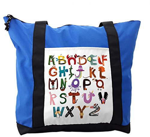 Lunarable ABC Kids Shoulder Bag, Elephant Fox Monkey Snake, Durable with Zipper by Lunarable