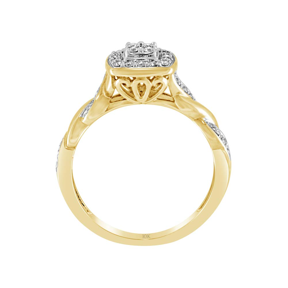 Brilliant Expressions 10K Yellow Gold 1/5 Cttw Conflict Free Diamond Cushion Cluster Halo and Twisted Shank Engagement Ring (I-J Color, I2-I3 Clarity), Size 8 by Brilliant Expressions (Image #3)